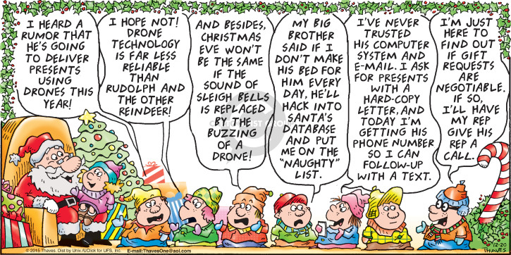 Comic Strip Bob Thaves Tom Thaves  Frank and Ernest 2015-12-20 aerial