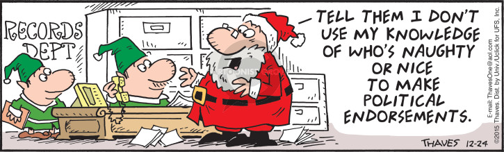 Comic Strip Bob Thaves Tom Thaves  Frank and Ernest 2015-12-24 claus