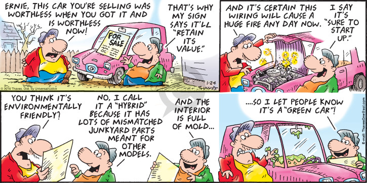 Comic Strip Bob Thaves Tom Thaves  Frank and Ernest 2016-01-24 car sales
