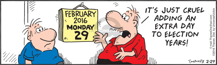 Cartoonist Bob Thaves Tom Thaves  Frank and Ernest 2016-02-29 presidential