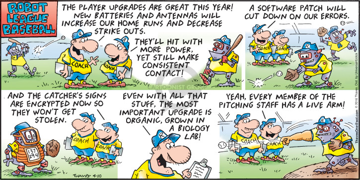 Comic Strip Bob Thaves Tom Thaves  Frank and Ernest 2016-04-10 baseball pitcher