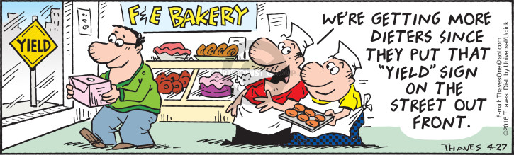Cartoonist Bob Thaves Tom Thaves  Frank and Ernest 2016-04-27 bake