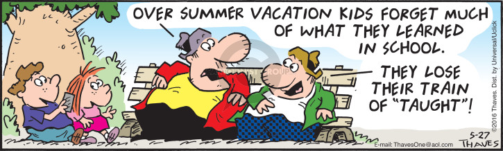 Cartoonist Bob Thaves Tom Thaves  Frank and Ernest 2016-05-27 school vacation