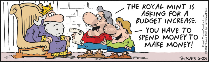 Comic Strip Bob Thaves Tom Thaves  Frank and Ernest 2016-06-28 currency