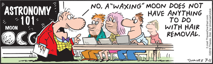 Astronomy 101.  Moon.  No, a waxing moon does not have anything to do with hair removal.
