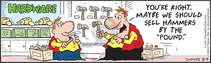 Cartoonist Bob Thaves Tom Thaves  Frank and Ernest 2016-08-09 salesman