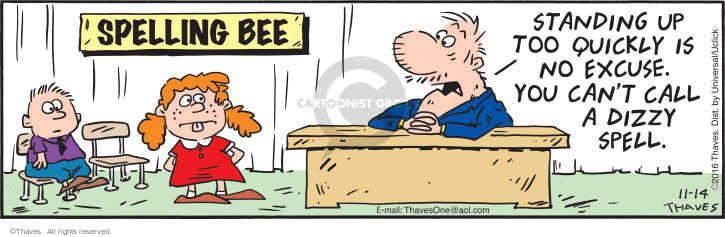 Comic Strip Bob Thaves Tom Thaves  Frank and Ernest 2016-11-14 spell