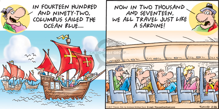 Comic Strip Bob Thaves Tom Thaves  Frank and Ernest 2017-02-26 air traveler