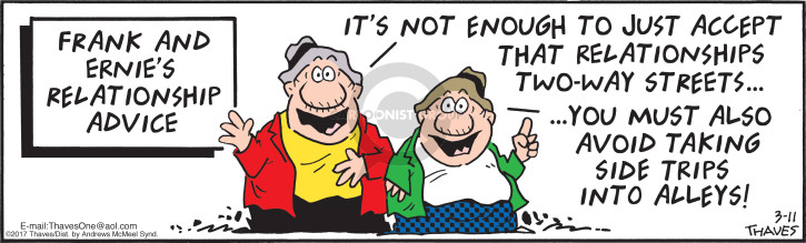 Cartoonist Bob Thaves Tom Thaves  Frank and Ernest 2017-03-11 marriage