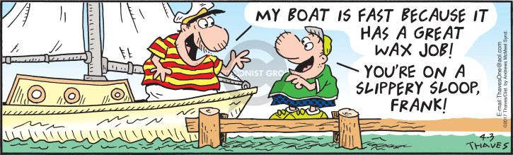 Comic Strip Bob Thaves Tom Thaves  Frank and Ernest 2017-04-03 boat