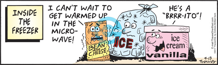 "Inside the freezer.  I cant wait to get warmed up in the microwave!  Bean and Cheese.  Ice.  Hes a ""Brrr-ito""!  Ice Cream Vanilla."