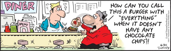 Cartoonist Bob Thaves Tom Thaves  Frank and Ernest 2017-06-30 hamburger