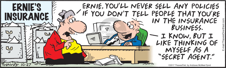 Comic Strip Bob Thaves Tom Thaves  Frank and Ernest 2017-10-27 agent