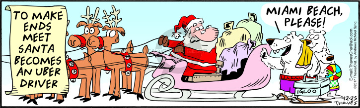 To make ends meet Santa becomes an Uber driver.  Miami Beach, please!