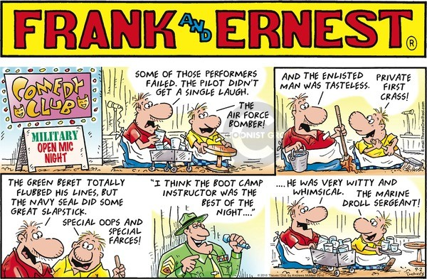 Comic Strip Bob Thaves Tom Thaves  Frank and Ernest 2018-09-02 green