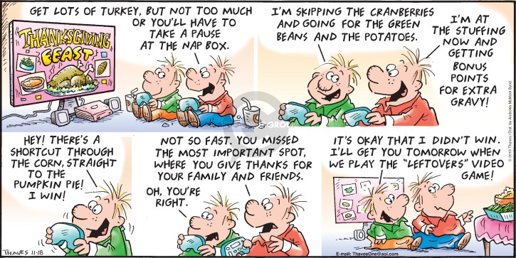Comic Strip Bob Thaves Tom Thaves  Frank and Ernest 2018-11-18 Thanksgiving family