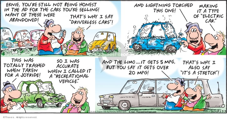 Comic Strip Bob Thaves Tom Thaves  Frank and Ernest 2019-03-03 car driver