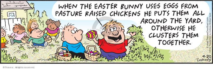 When the Easter Bunny uses eggs from pasture raised chickens he puts them all around the yard, otherwise he clusters them together.