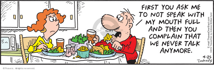 Comic Strip Bob Thaves Tom Thaves  Frank and Ernest 2019-04-25 eat