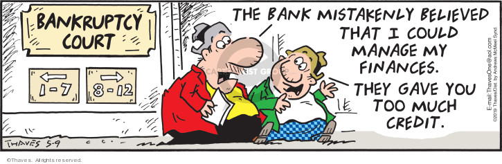 Comic Strip Bob Thaves Tom Thaves  Frank and Ernest 2019-05-09 bank
