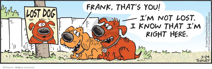 Comic Strip Bob Thaves Tom Thaves  Frank and Ernest 2019-05-24 location