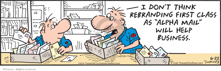 Cartoonist Bob Thaves Tom Thaves  Frank and Ernest 2019-06-22 mailperson