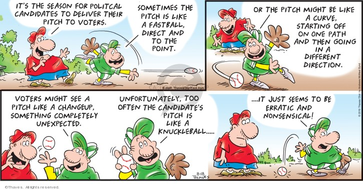 Comic Strip Bob Thaves Tom Thaves  Frank and Ernest 2019-08-18 baseball pitcher