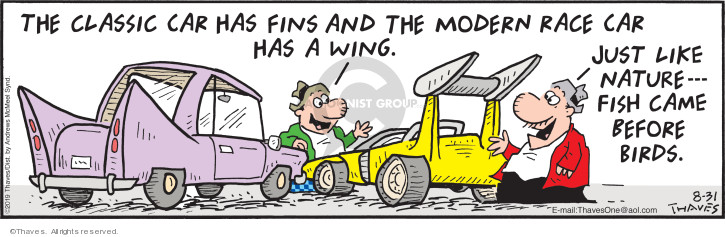 Comic Strip Bob Thaves Tom Thaves  Frank and Ernest 2019-08-31 car