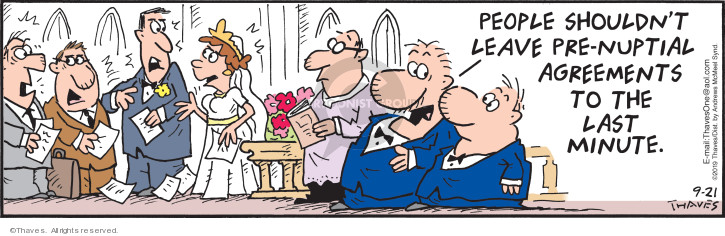Comic Strip Bob Thaves Tom Thaves  Frank and Ernest 2019-09-21 wedding