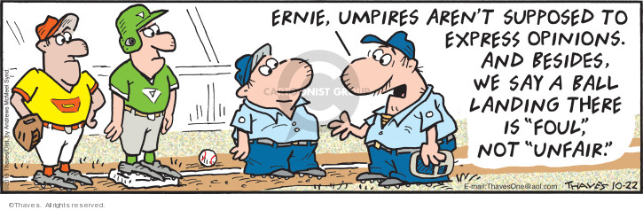 Comic Strip Bob Thaves Tom Thaves  Frank and Ernest 2019-10-22 baseball