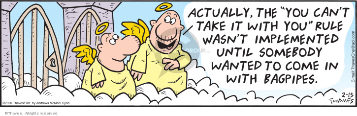 Cartoonist Bob Thaves Tom Thaves  Frank and Ernest 2020-02-15 heaven