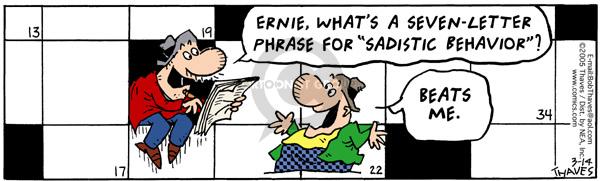 Cartoonist Bob Thaves Tom Thaves  Frank and Ernest 2005-03-14 define