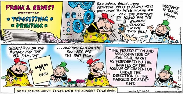 Cartoonist Bob Thaves Tom Thaves  Frank and Ernest 2005-10-30 unfair