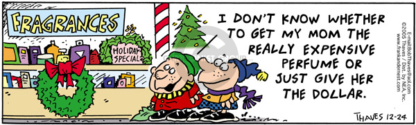 Comic Strip Bob Thaves Tom Thaves  Frank and Ernest 2005-12-24 Christmas present