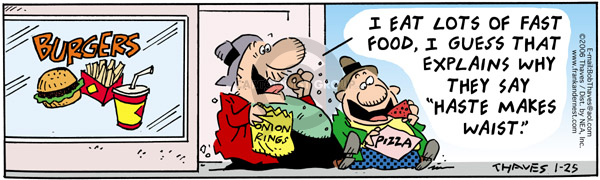 Cartoonist Bob Thaves Tom Thaves  Frank and Ernest 2006-01-25 hamburger