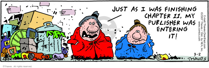 Comic Strip Bob Thaves Tom Thaves  Frank and Ernest 2007-03-02 bankruptcy
