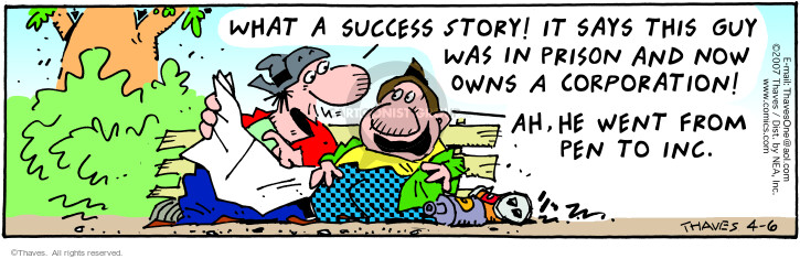 Comic Strip Bob Thaves Tom Thaves  Frank and Ernest 2007-04-06 succeed