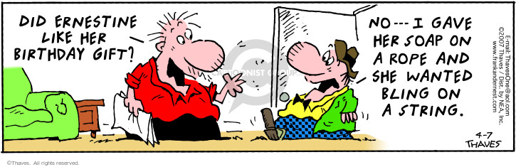 Comic Strip Bob Thaves Tom Thaves  Frank and Ernest 2007-04-07 disappoint