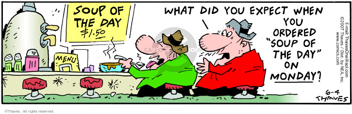 Comic Strip Bob Thaves Tom Thaves  Frank and Ernest 2007-06-04 taste