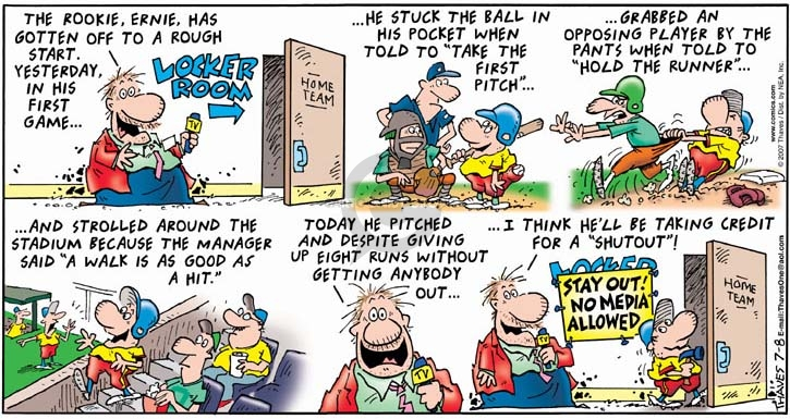 Comic Strip Bob Thaves Tom Thaves  Frank and Ernest 2007-07-08 baseball pitcher