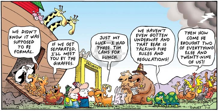 Comic Strip Bob Thaves Tom Thaves  Frank and Ernest 2007-07-15 Noah's Ark