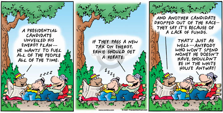 Comic Strip Bob Thaves Tom Thaves  Frank and Ernest 2007-09-09 deficit