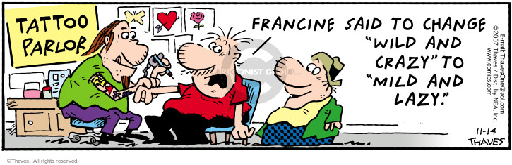 Comic Strip Bob Thaves Tom Thaves  Frank and Ernest 2007-11-14 lazy