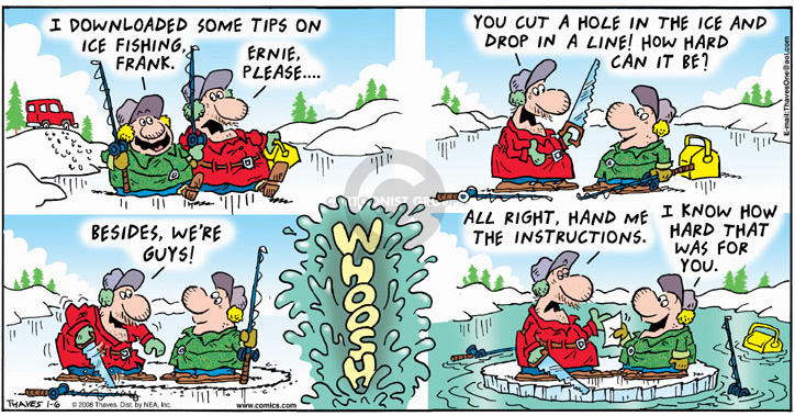 Comic Strip Bob Thaves Tom Thaves  Frank and Ernest 2008-01-06 drop it