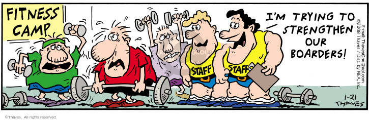 Comic Strip Bob Thaves Tom Thaves  Frank and Ernest 2008-01-21 weightlifting