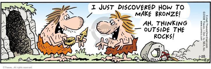 Comic Strip Bob Thaves Tom Thaves  Frank and Ernest 2008-01-28 stone age