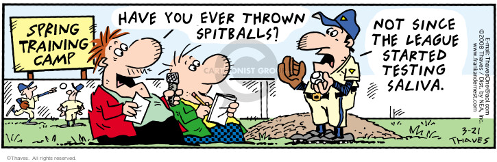 Comic Strip Bob Thaves Tom Thaves  Frank and Ernest 2008-03-21 baseball pitcher