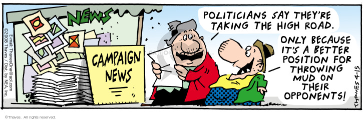 Cartoonist Bob Thaves Tom Thaves  Frank and Ernest 2008-04-15 campaign