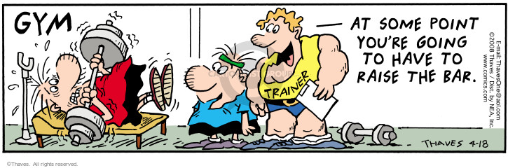 Comic Strip Bob Thaves Tom Thaves  Frank and Ernest 2008-04-18 fitness trainer