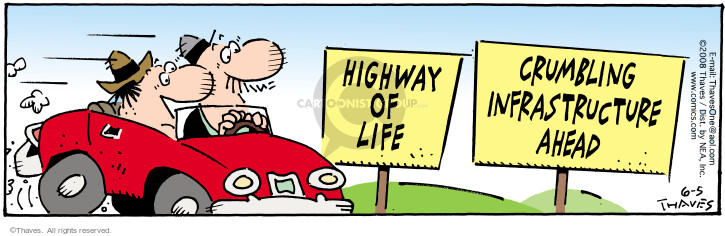 Cartoonist Bob Thaves Tom Thaves  Frank and Ernest 2008-06-05 highway of life